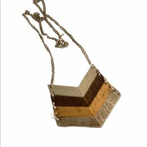 V Necklace layered Chevron Arrows Silver Rose Gold